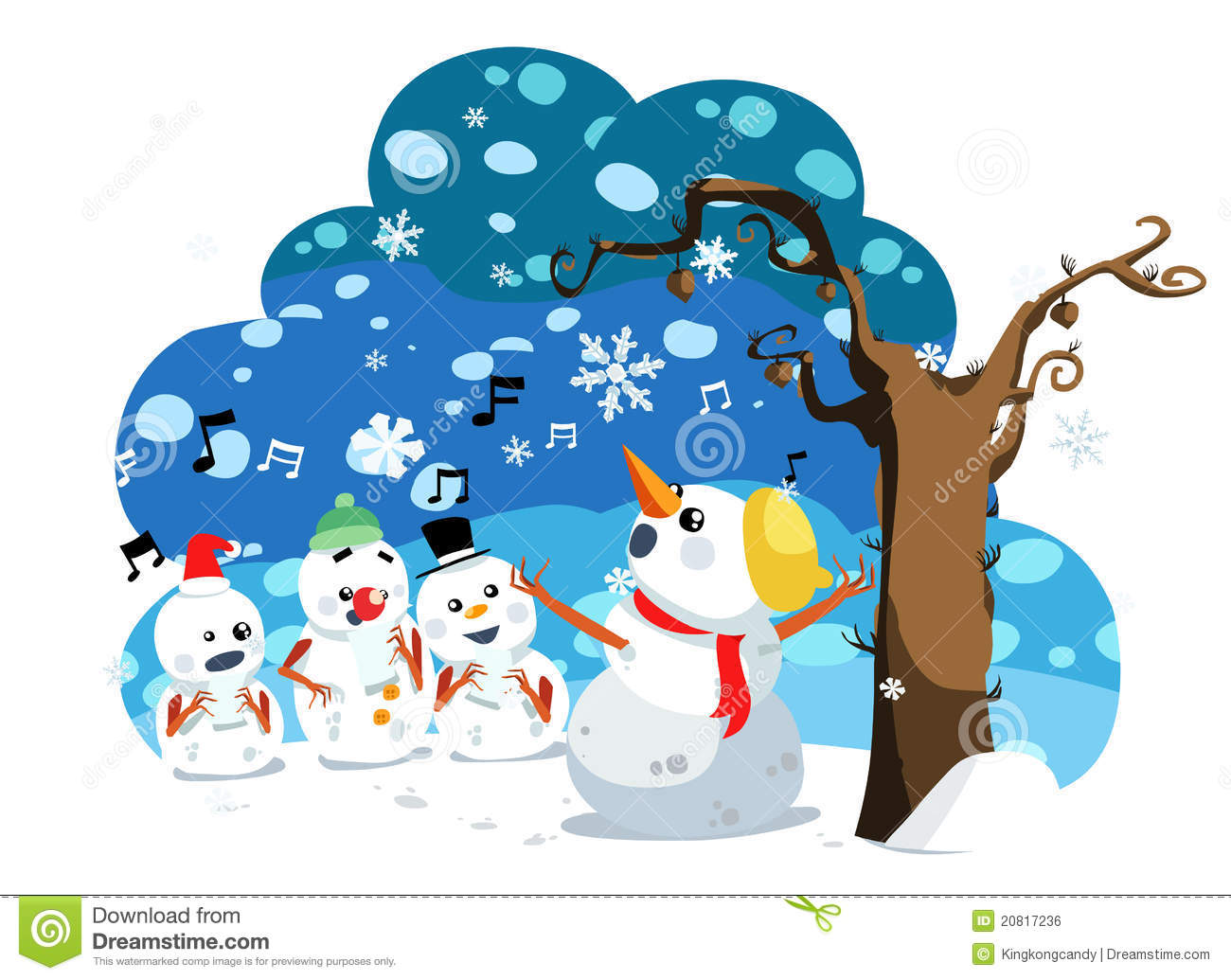 Christmas Snowman Sing A Song Royalty Free Stock Image - Image ...