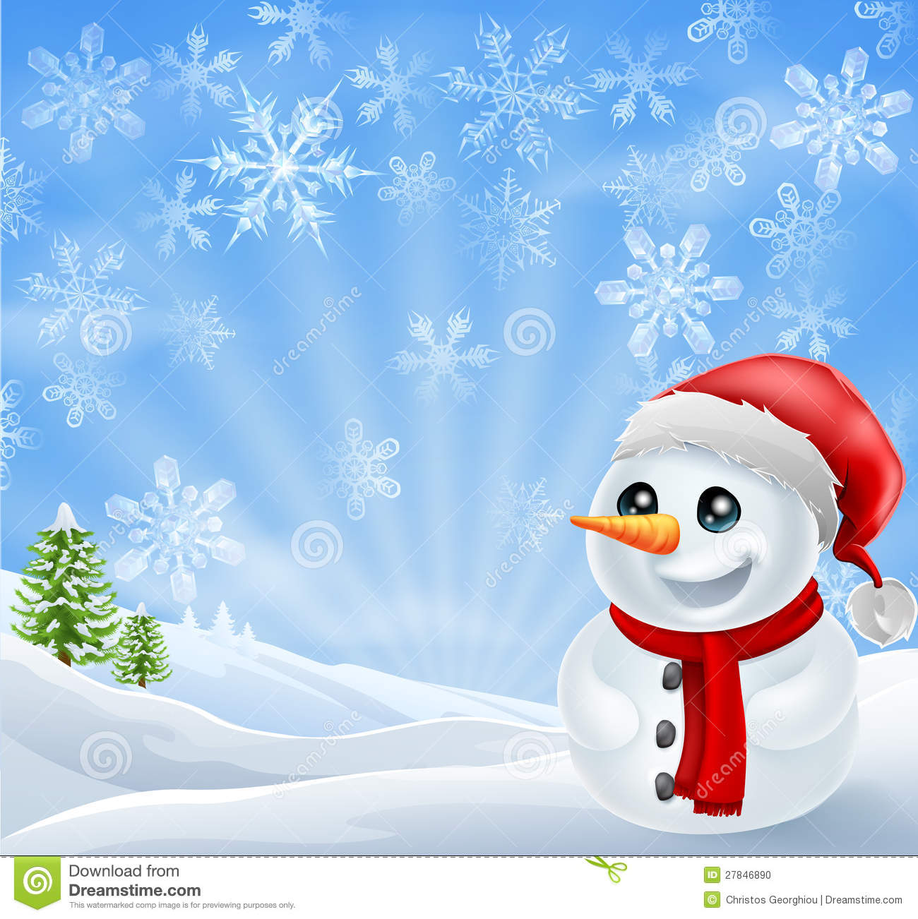 Christmas Snowman In Snowy Scene Stock Photo - Image: 27846890