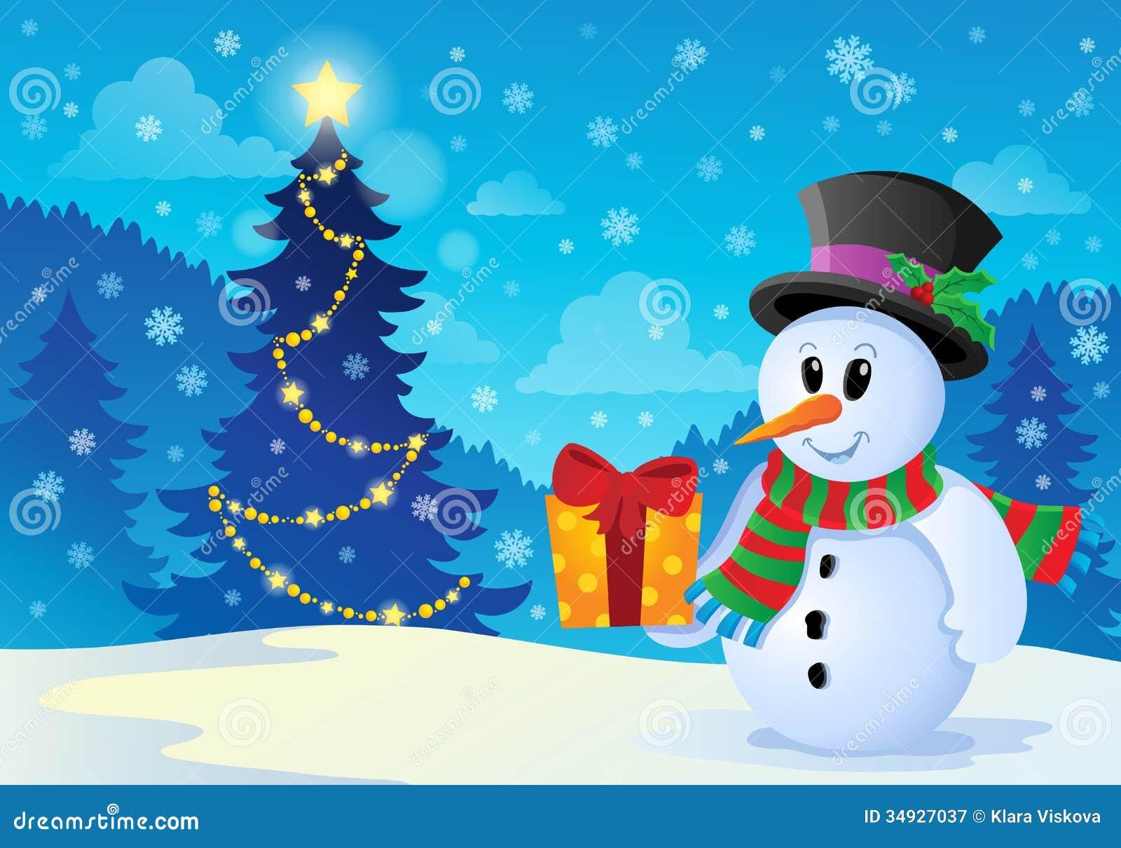 Christmas Snowman Theme Image 1 Royalty Free Stock