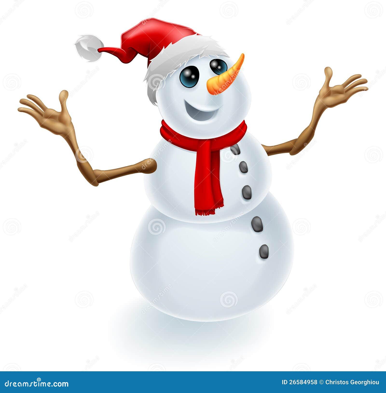 Christmas snowman wearing santa hat stock vector - Clipart bonhomme de neige ...