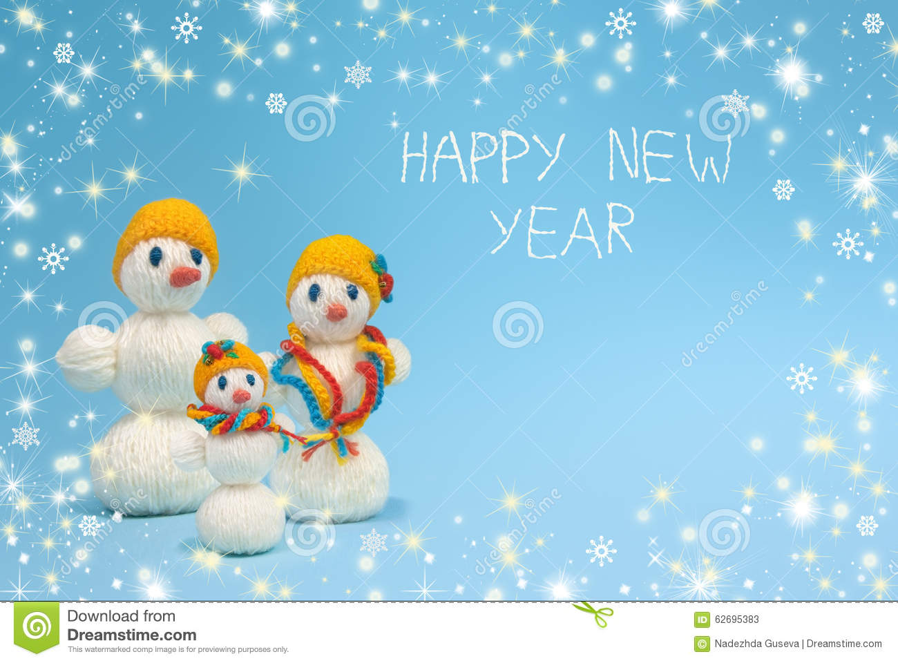 christmas family of snowmen on a blue backgrounddecorated with a border of snowflakessparkle and shinesnow flakesthe inscription happy new year