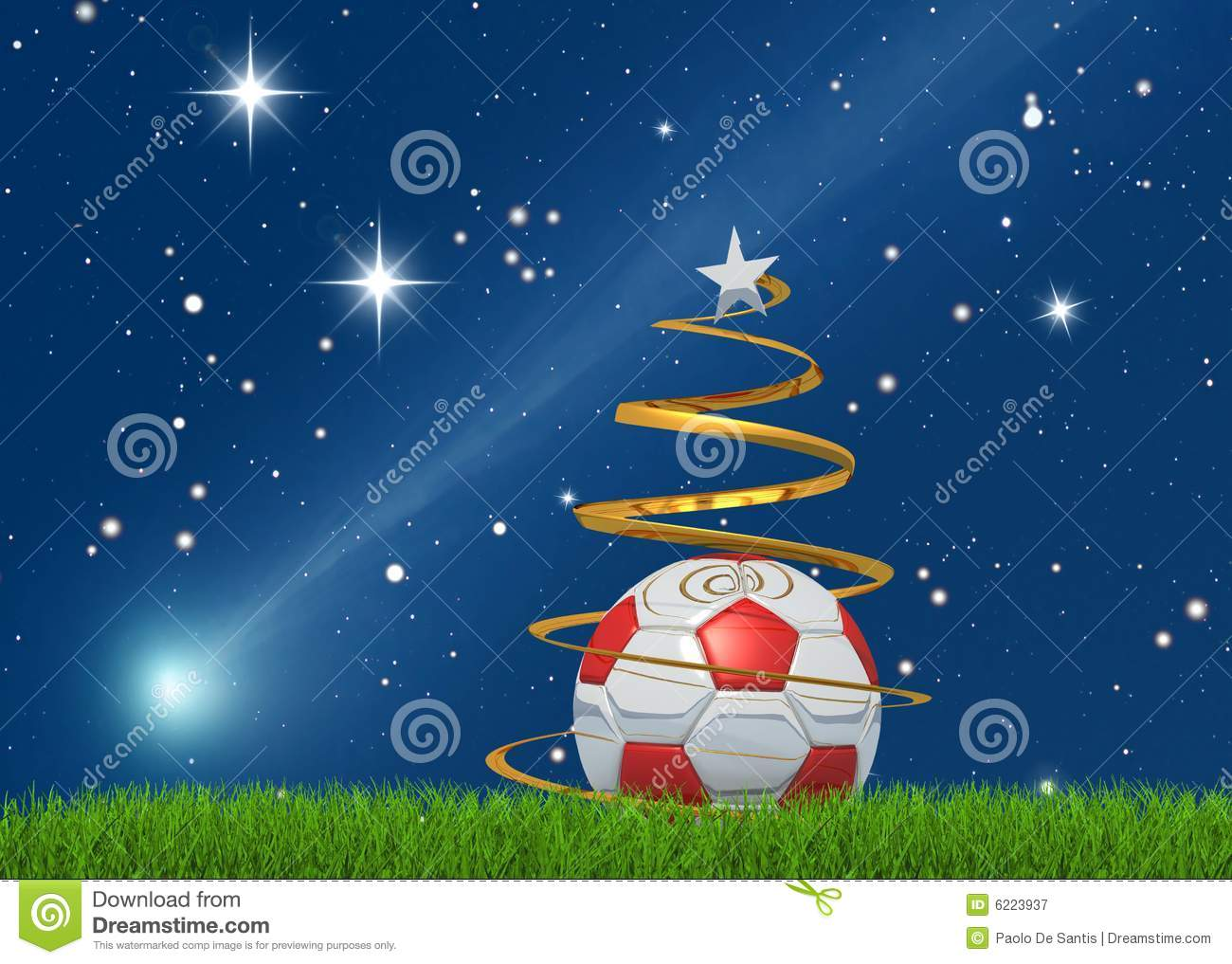 Christmas Soccerball And Comet Royalty Free Stock Photography - Image: 6223937