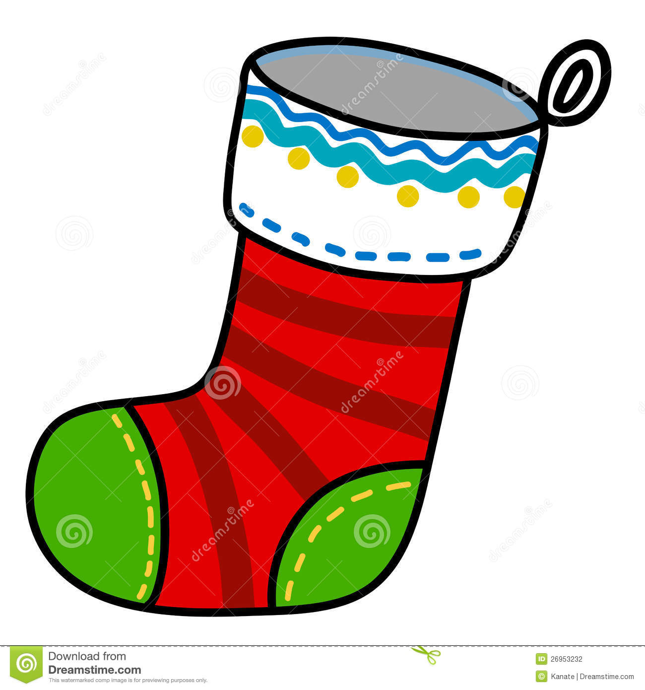 Christmas Sock Cartoon. Stock Photography - Image: 26953232