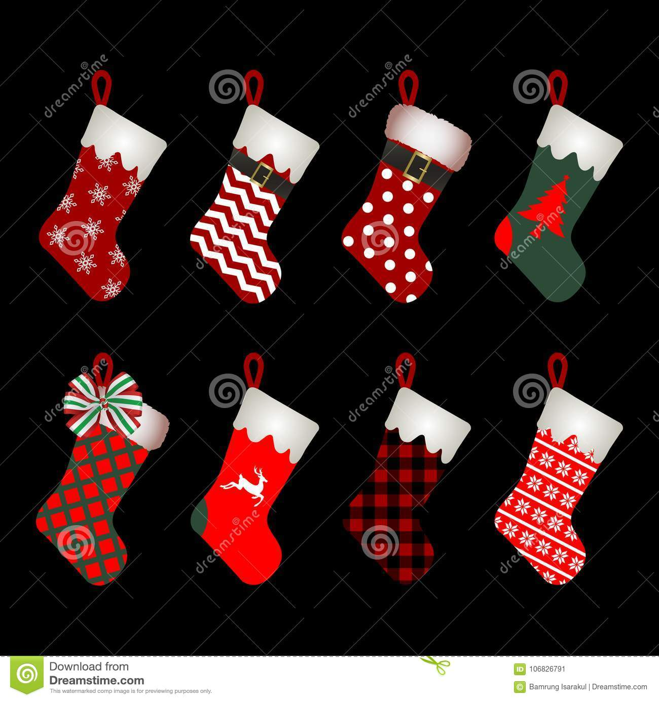 Christmas Sock Icon Set.christmas Socks Vectors.christmas