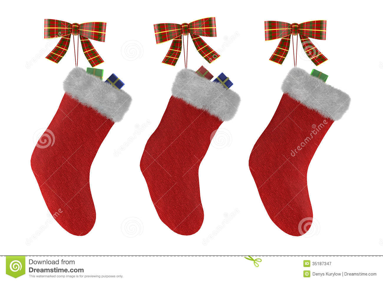 christmas socks with gifts isolated stock image image of isolated
