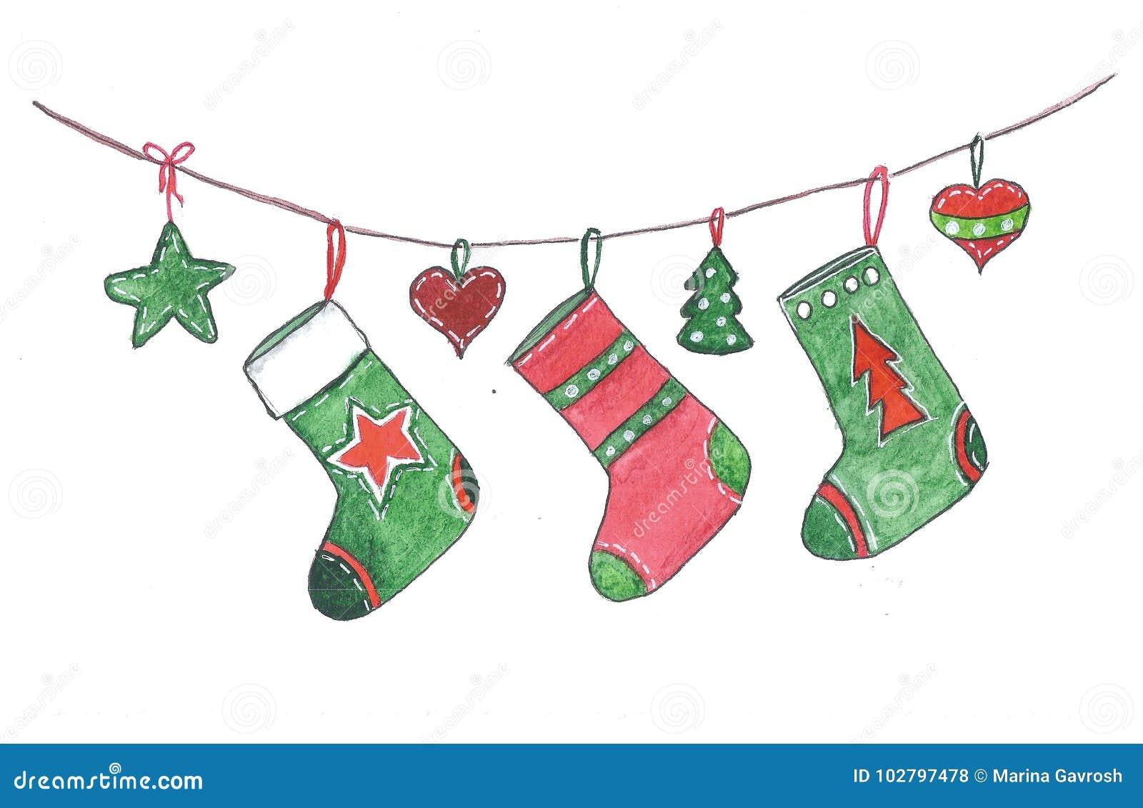 Christmas Socks Hanging On The Rope Stock Illustration
