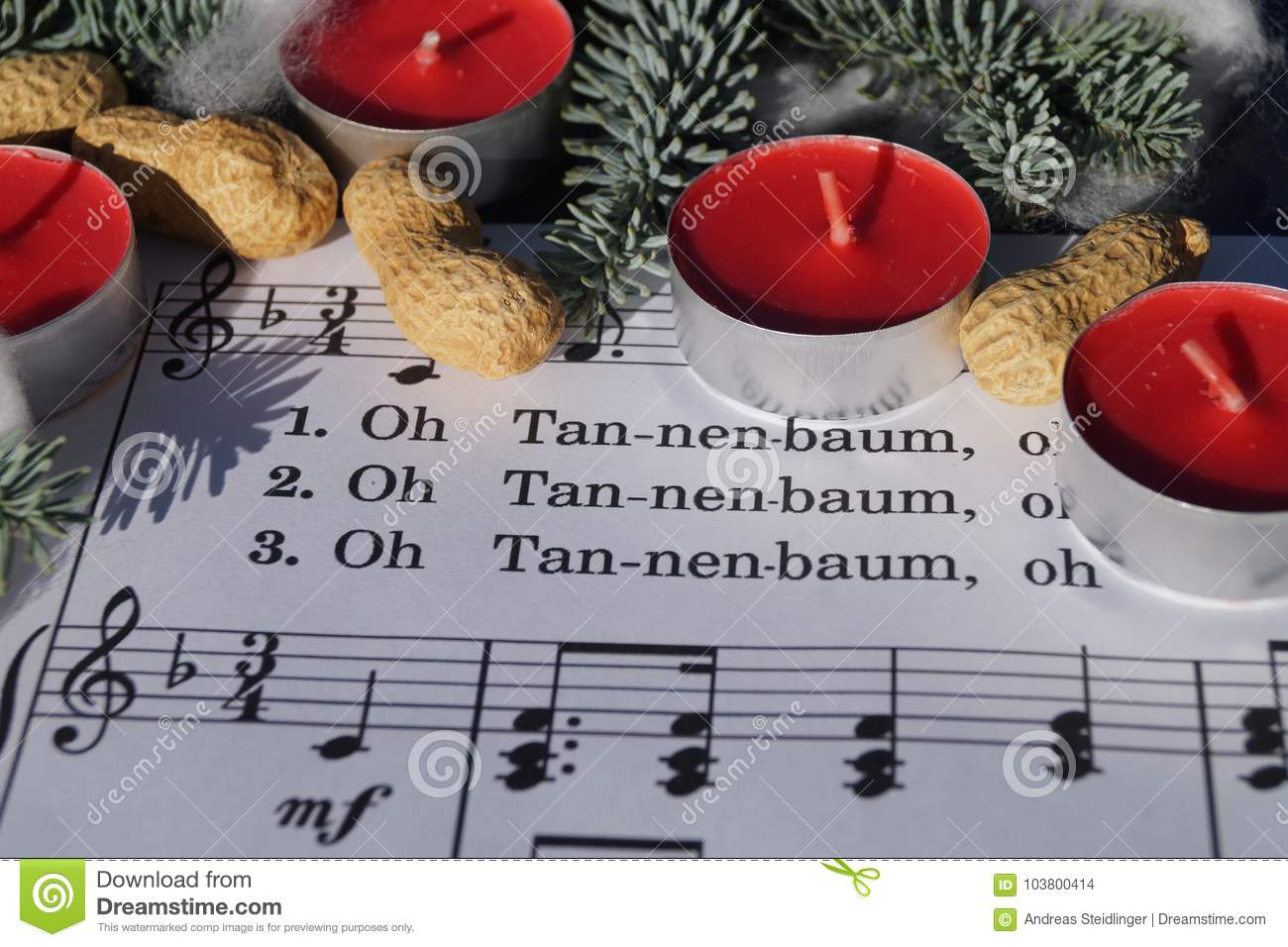 Christmas Song Note Sheed With Decoration Stock Photo
