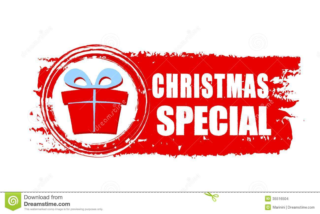 christmas special and gift box on red drawn banner stock images - Christmas Special