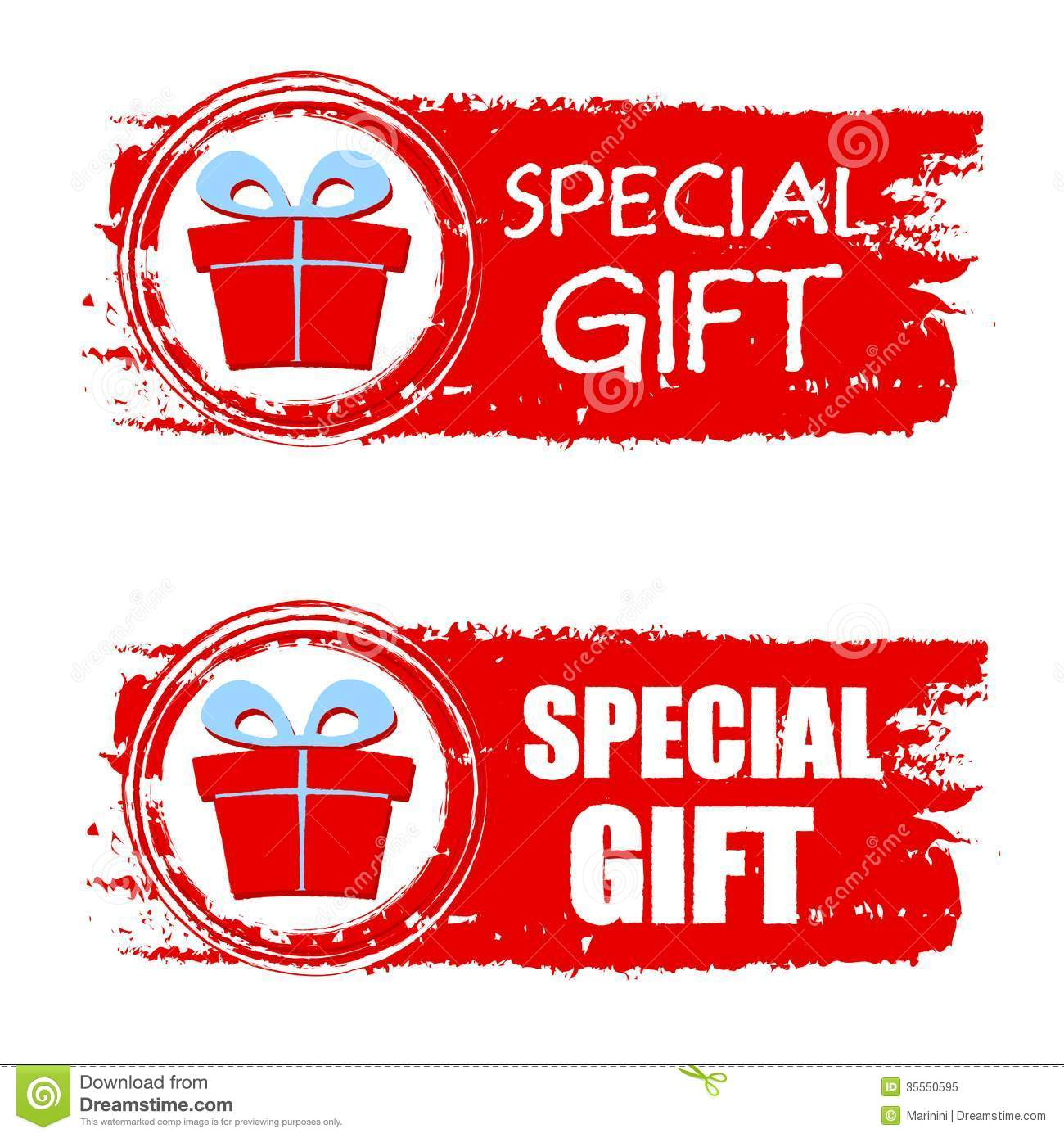 Christmas Special Gift And Present Box On Red Drawn Banner Stock ...