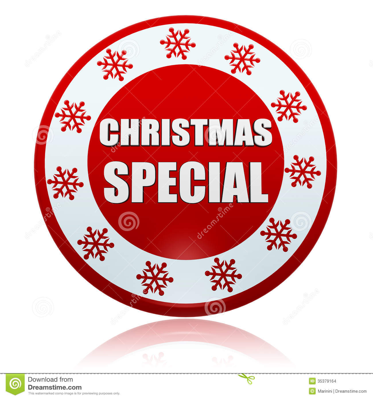 christmas special red circle banner with snowflakes symbol - Christmas Special