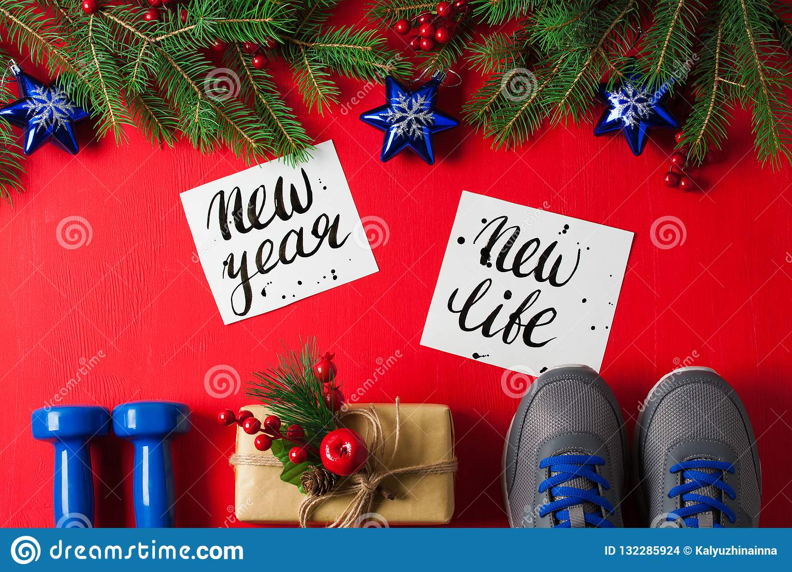 Christmas sport composition dumbbells sneakers new year new life