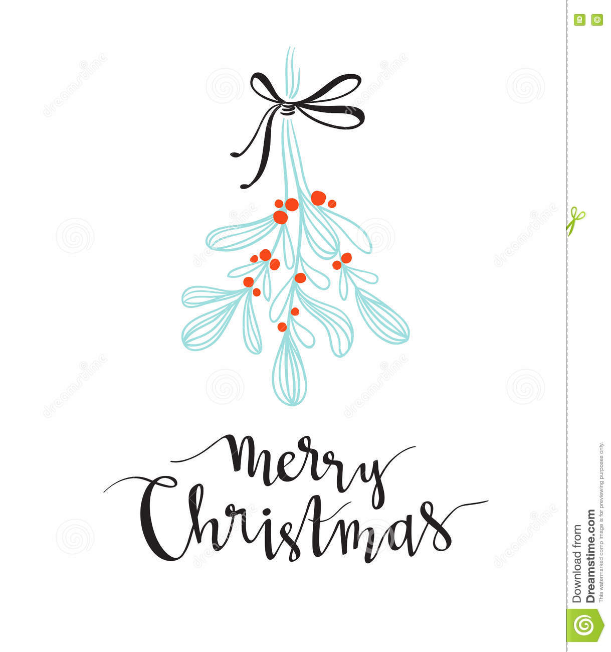 Christmas sprig of mistletoe with holiday lettering merry christmas sprig of mistletoe with holiday lettering merry christmas vector illustration for greeting cards invitations buycottarizona Image collections
