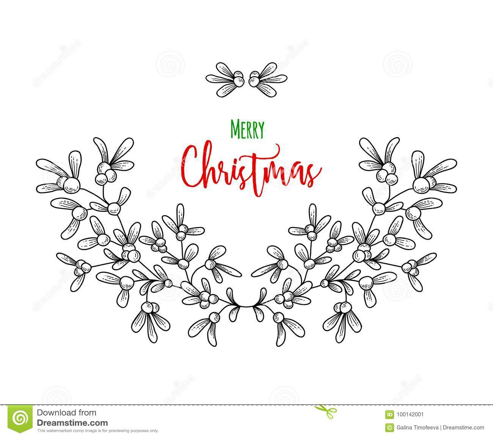 Christmas Sprig Of Mistletoe. Illustration For Greeting Cards ...