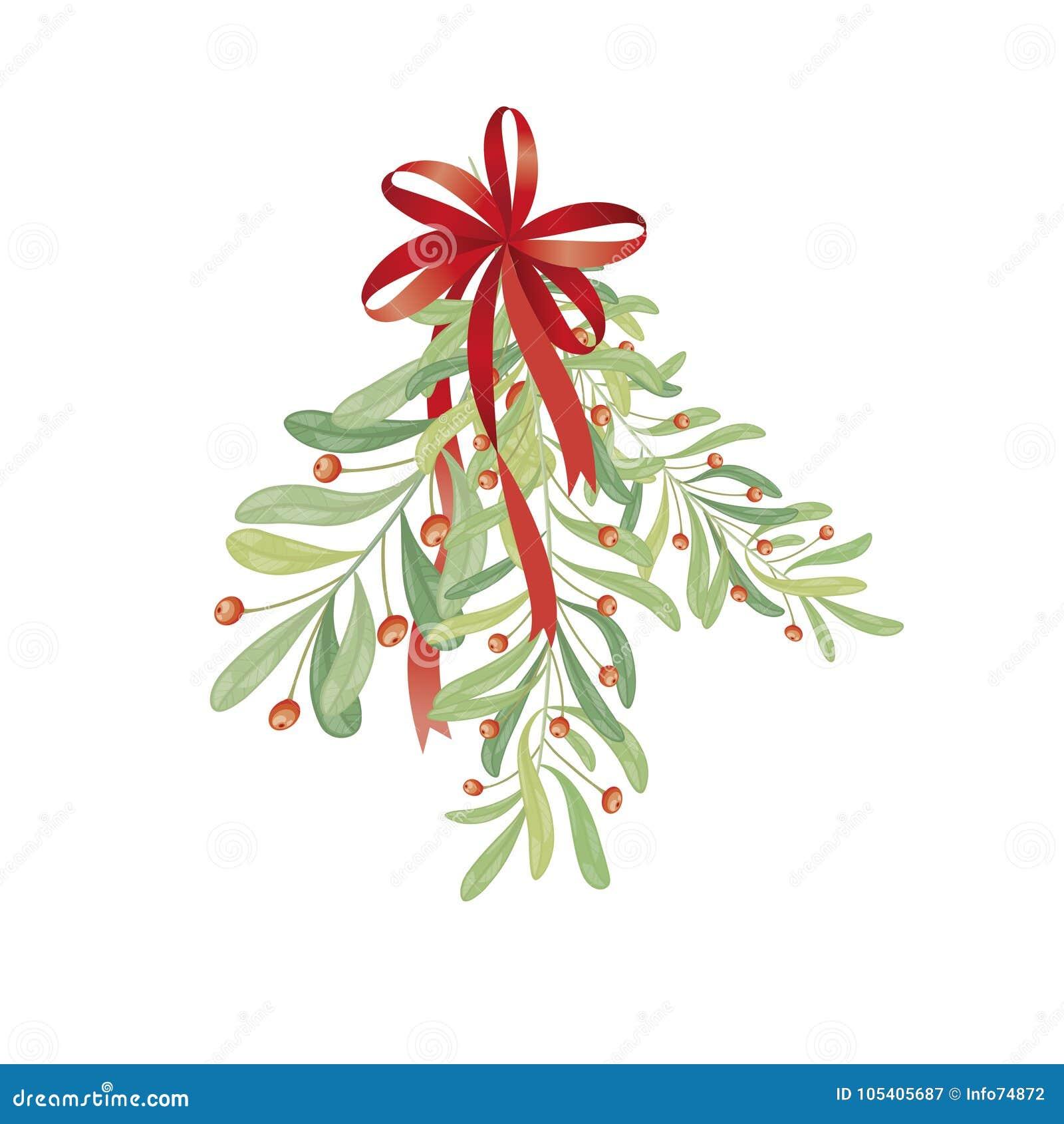 Christmas Sprig Of Mistletoe. Illustration For Greeting Cards, I ...