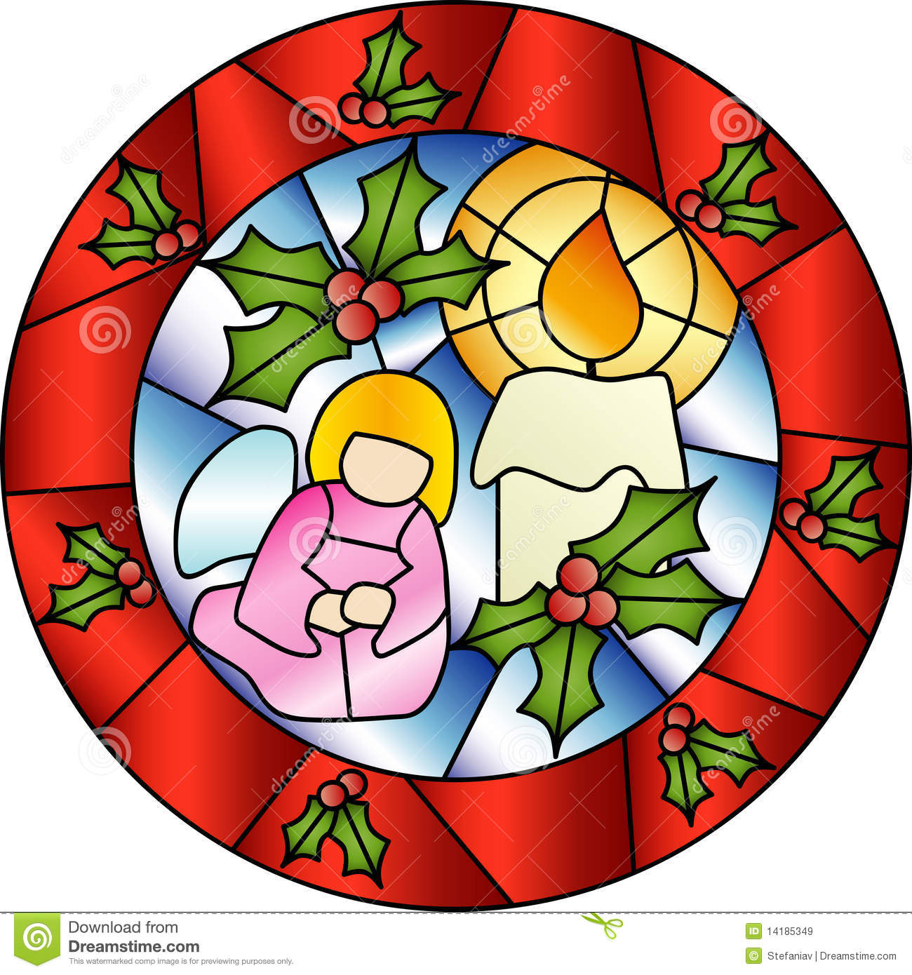 Christmas stained glass decoration stock vector image