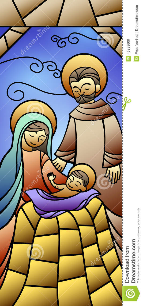 Christmas Stained Glass Nativity Banner Stock Illustration - Image ...