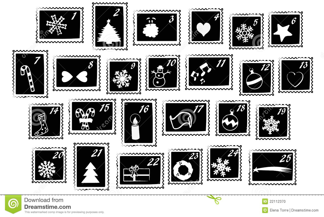 ... stamps usable for Advent Calendar - black and white, isolated vector