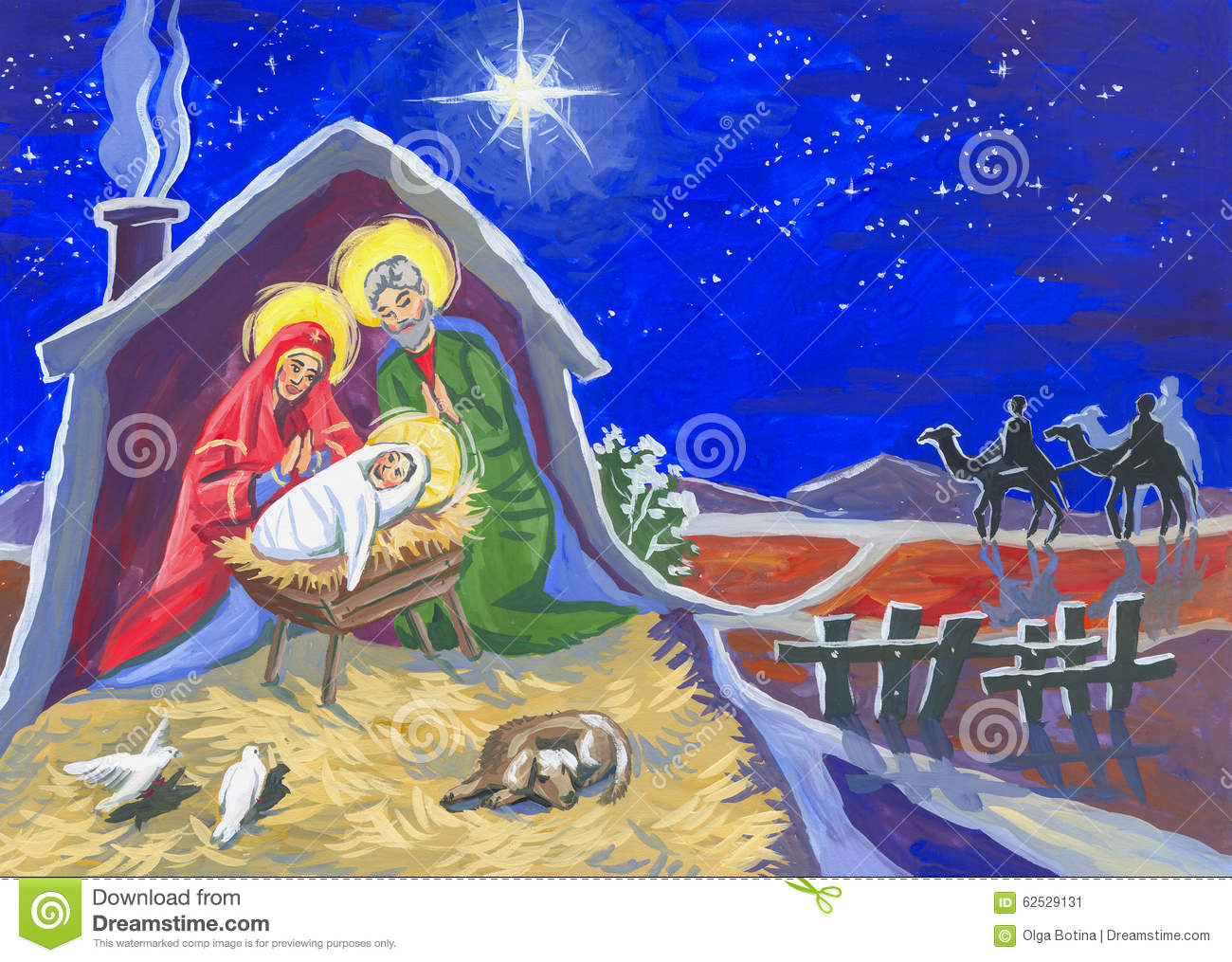 Christmas Stable Drawing.Christmas Star And Baby Stock Illustration Illustration Of
