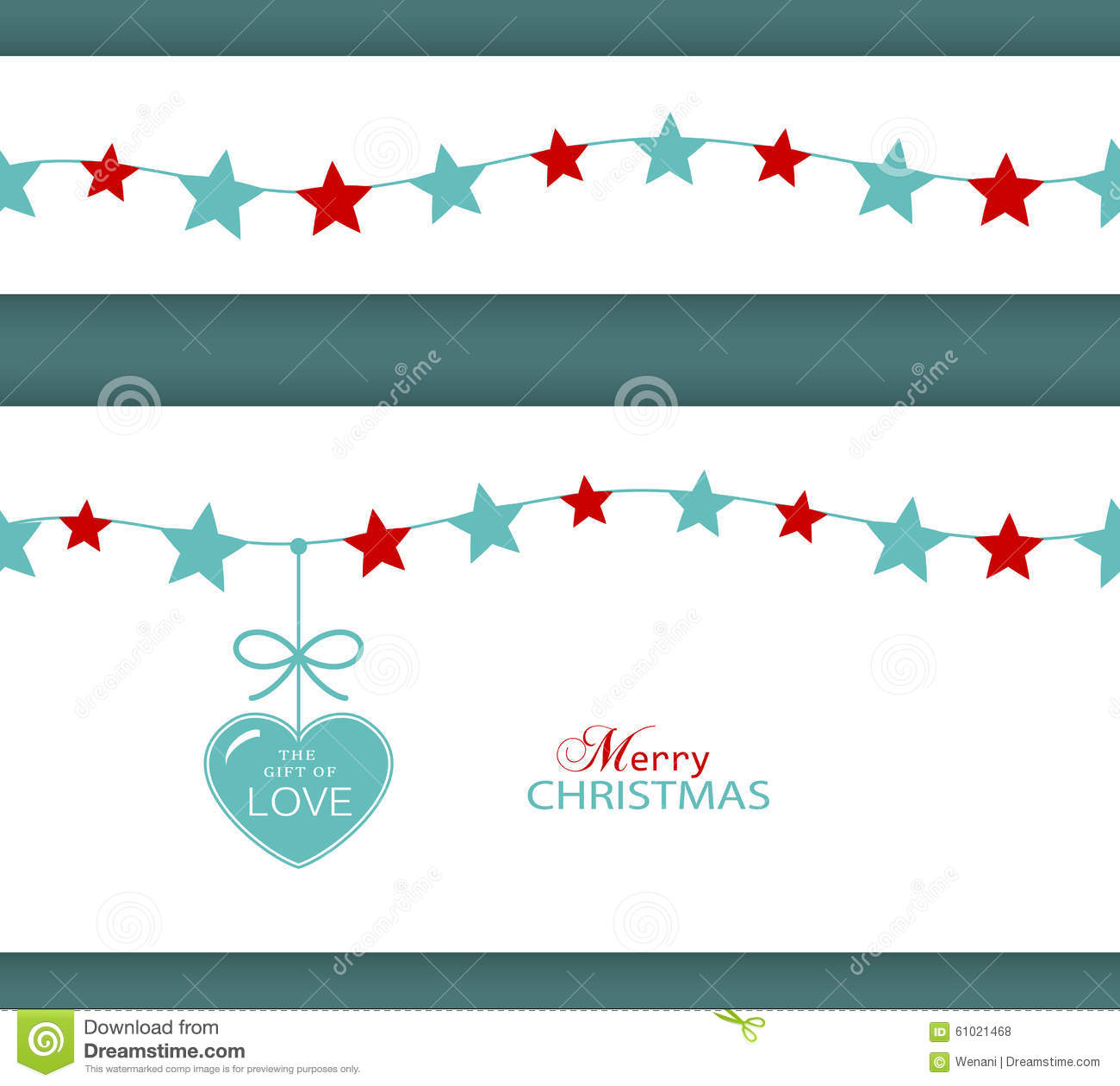 Christmas star border and heart the gift of love stock