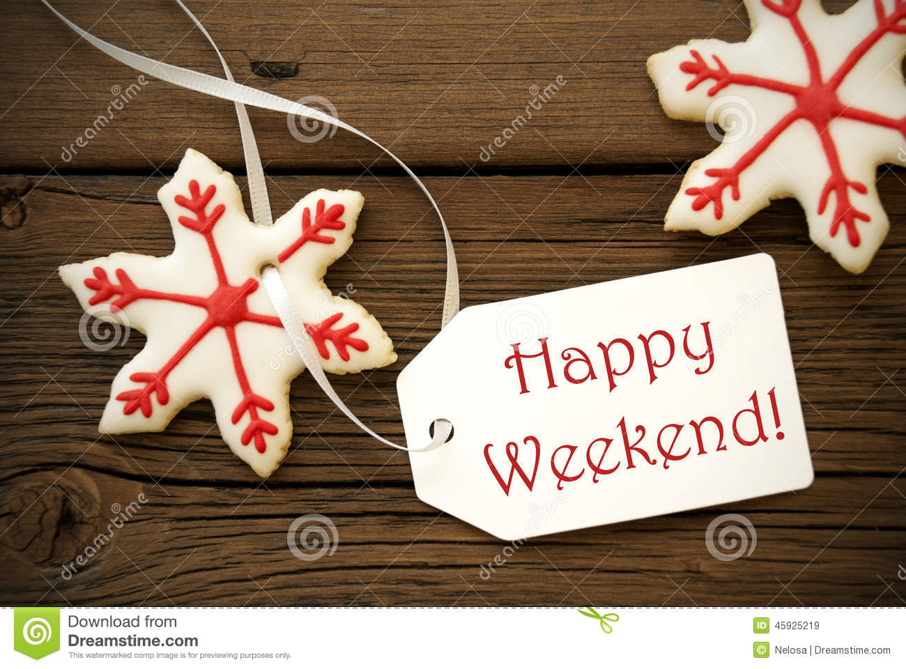 Christmas Star Cookies With Happy Weekend Label Stock