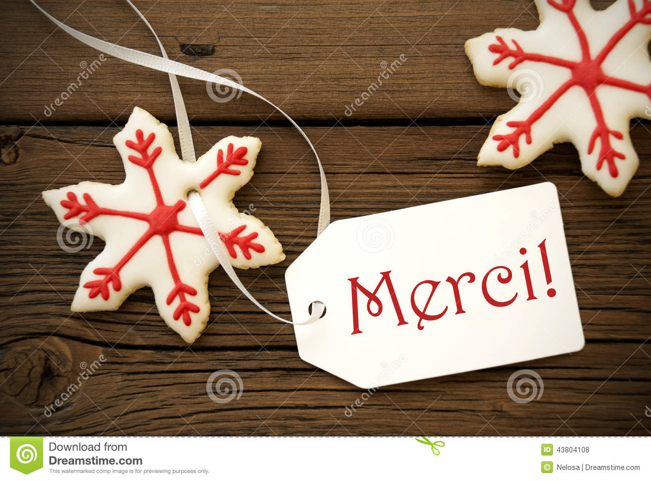Christmas Star Cookies With Merci Stock Photo Image