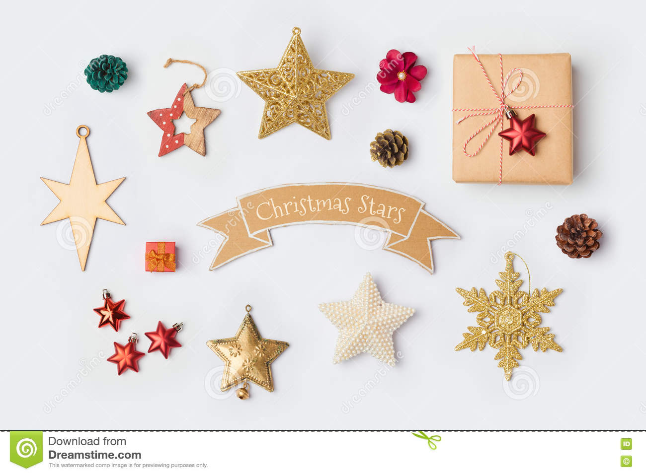 Christmas Star Decorations Collection For Mock Up Template Design