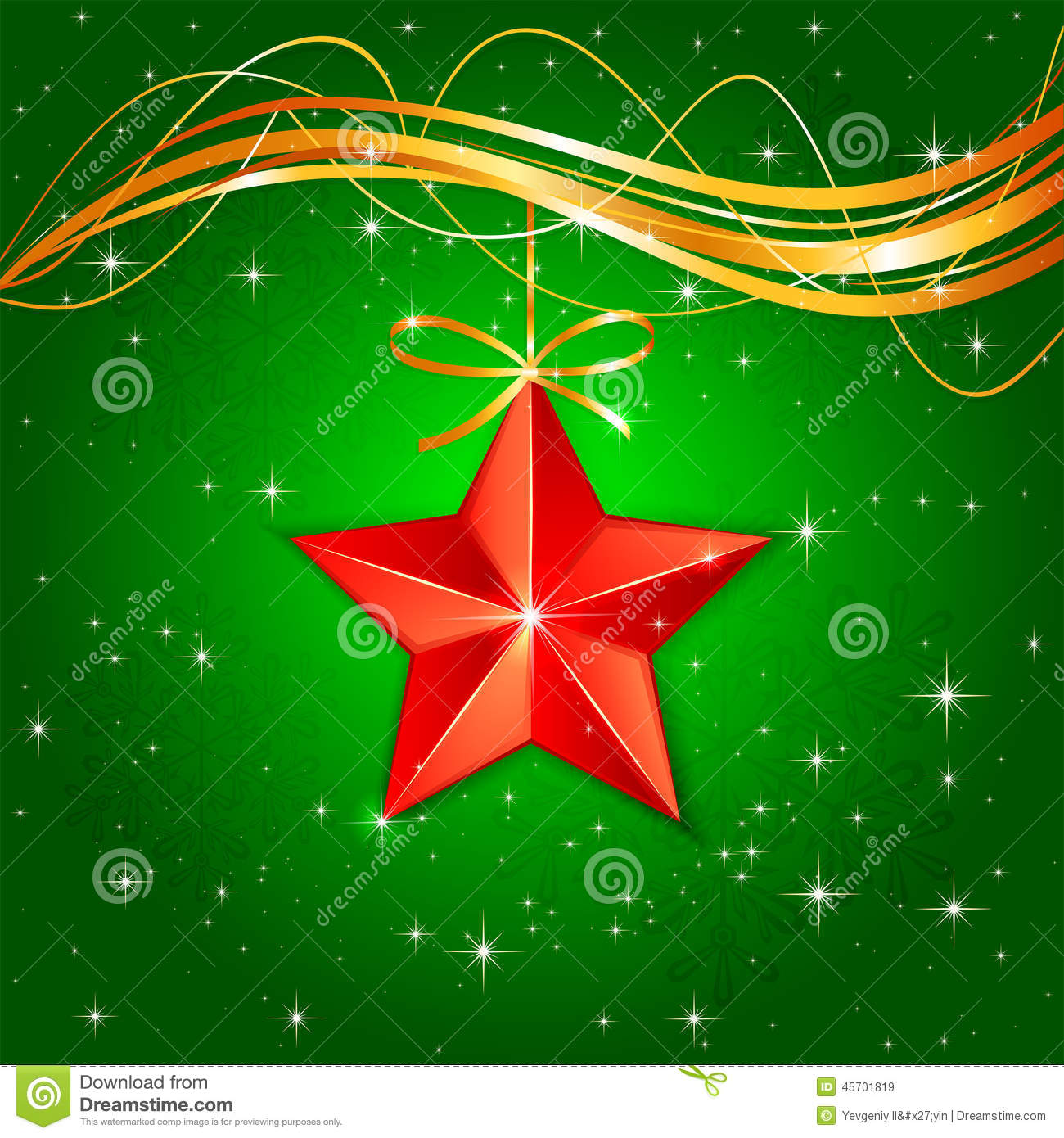 Christmas star on green background stock vector image