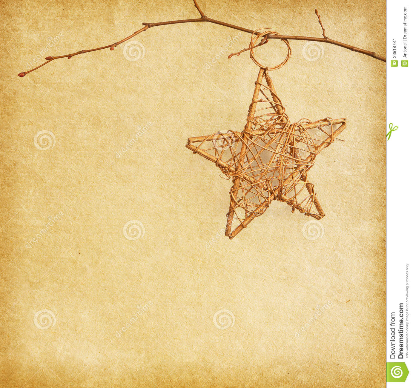 Christmas Star Hanging Over Old Old Paper Royalty Free Stock ...