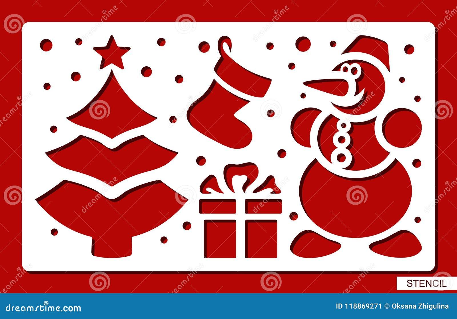 Christmas Stencils For Wood.Christmas Stencil Christmas Tree Snowman Sock Gift