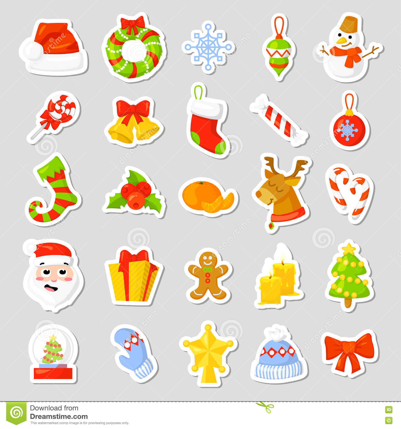 Christmas Stickers Set Collection Vector. Cartoon. New ...
