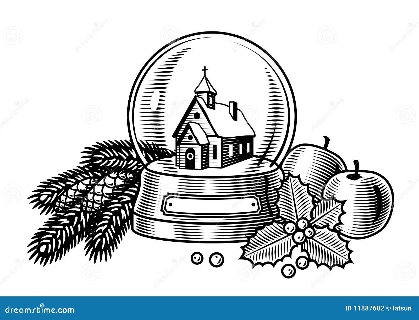 Christmas Still Life Black And White Stock Vector