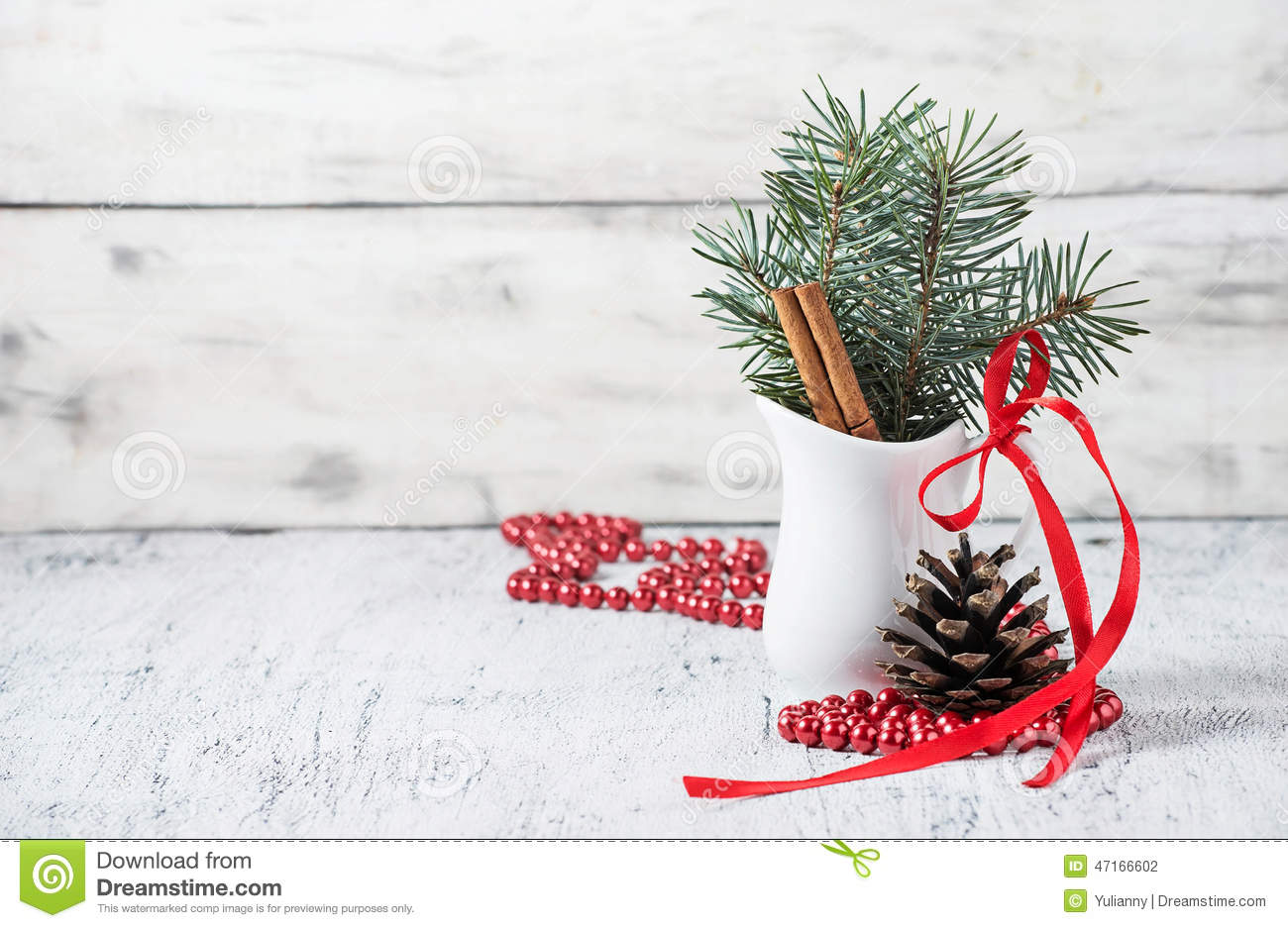 Christmas still life with branches of tree pinecone and