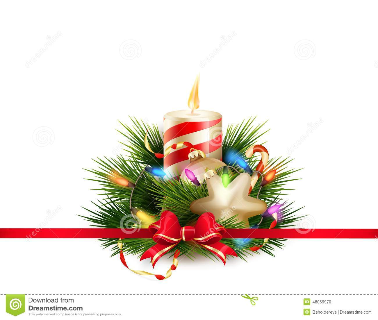 Christmas still life with candle. EPS 10