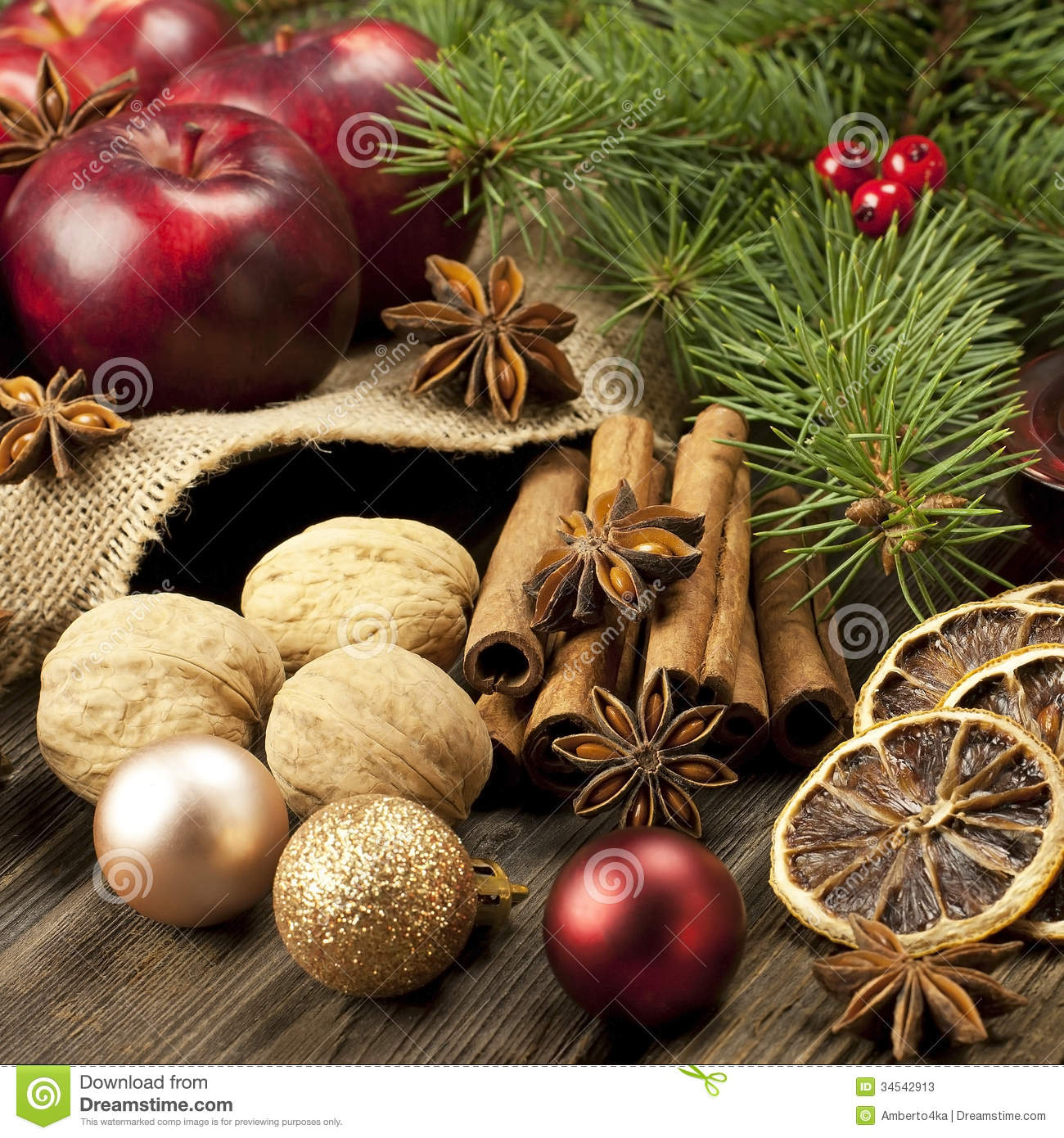 Christmas still life with fruit and spices stock image