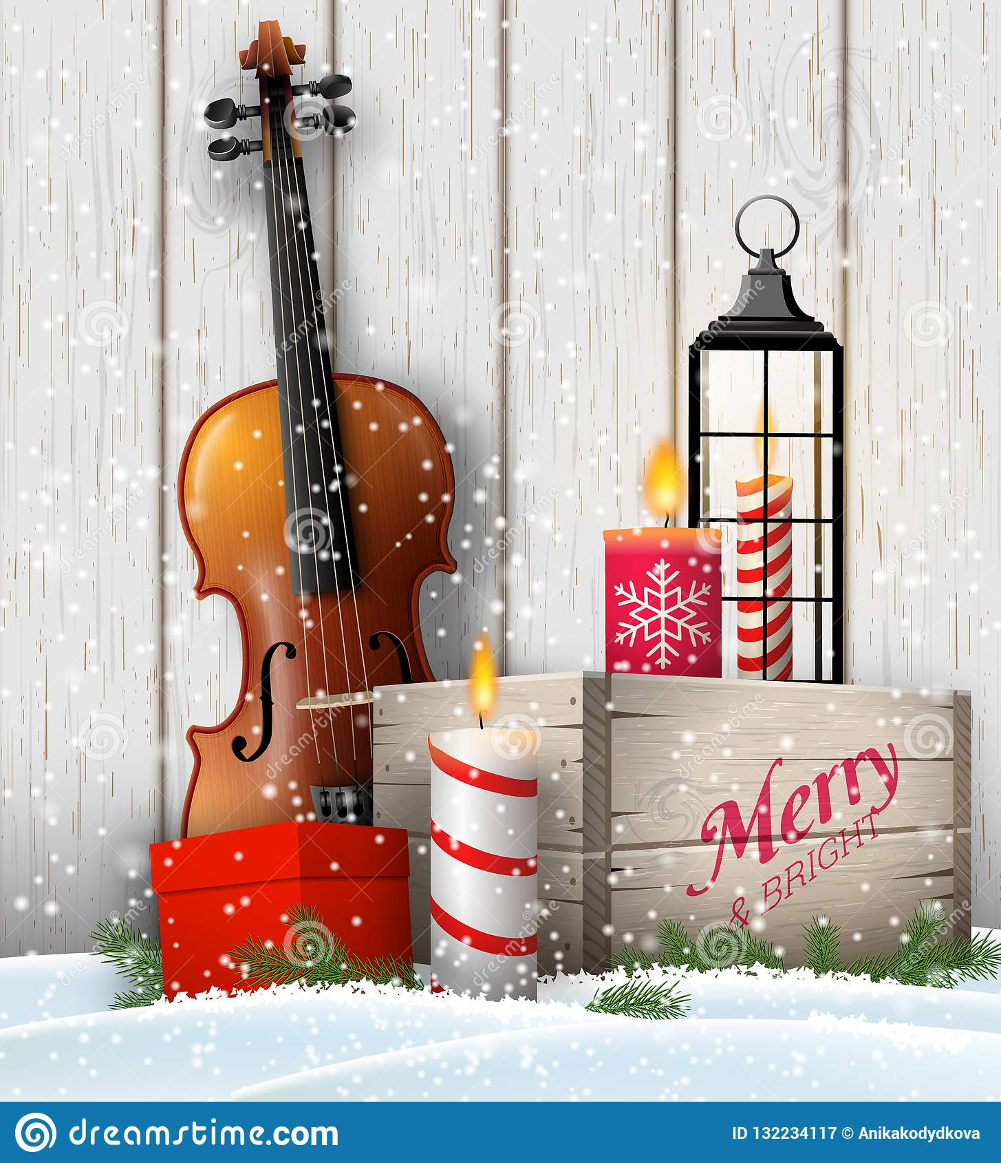 Christmas still-life with gift boxes and violin