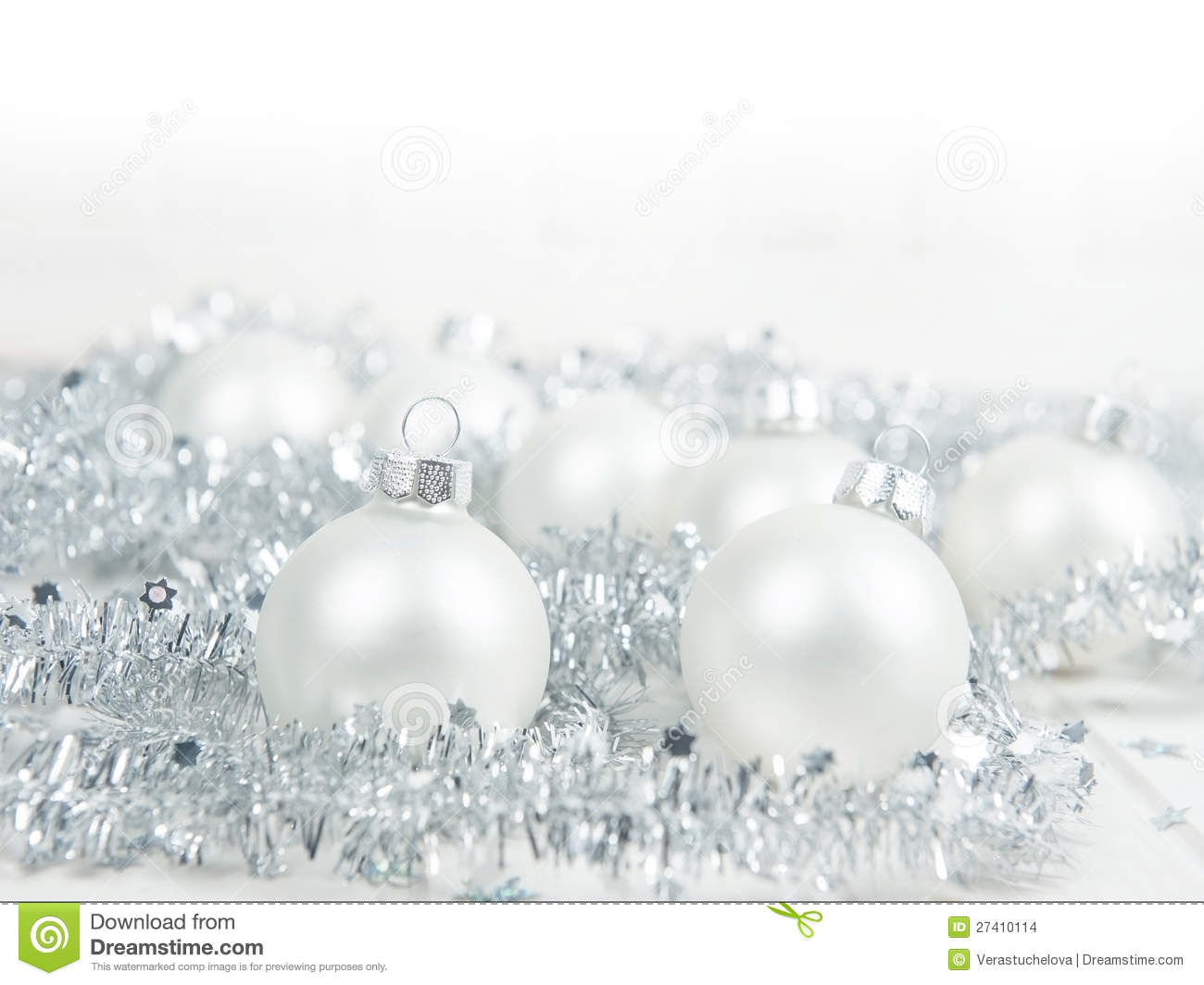Christmas Still Life With Silver Decorations Stock Images