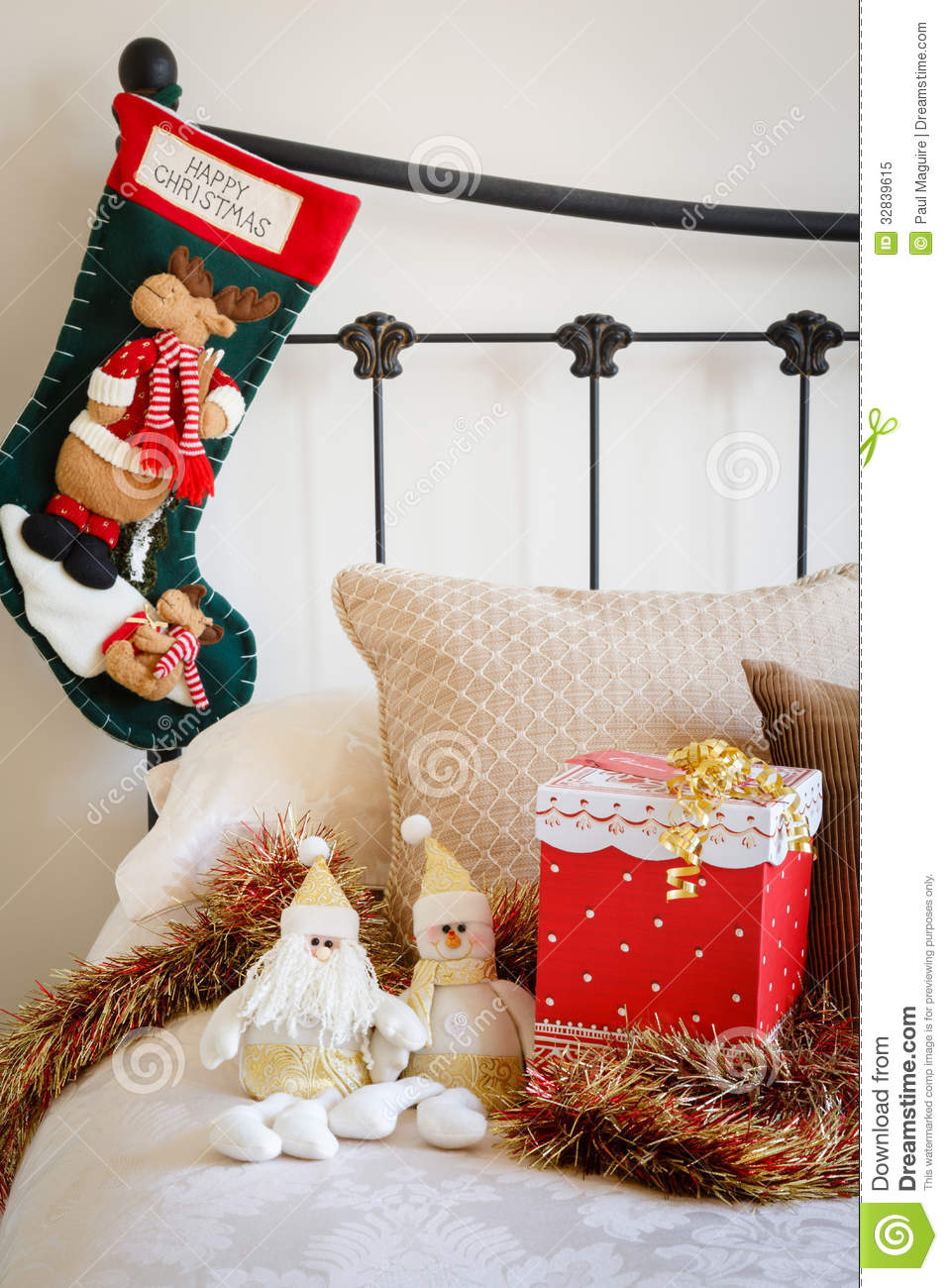 Christmas Stocking On Bed Royalty Free Stock Photo Image