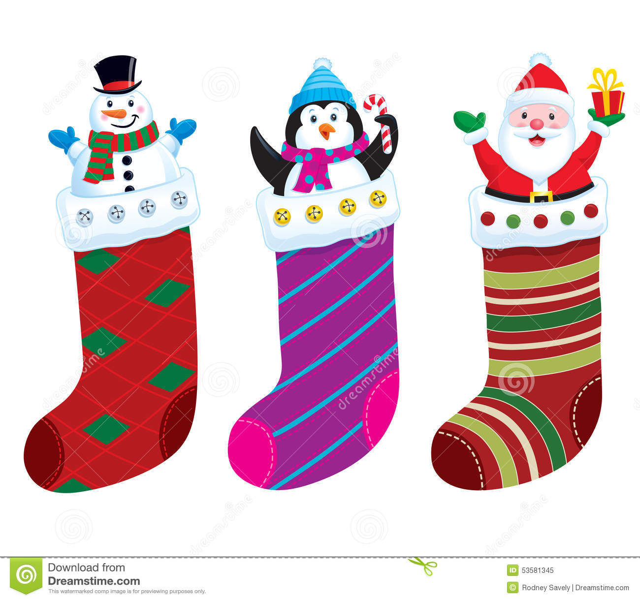 Christmas Stockings Cartoon.Christmas Stocking Characters Stock Illustration