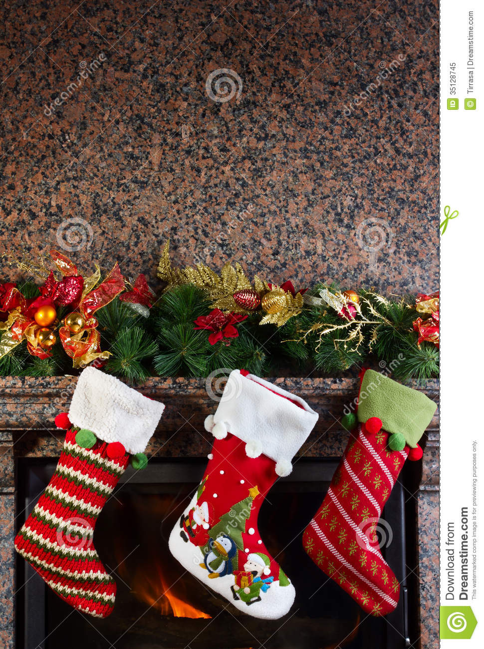 Christmas stocking royalty free stock photo image 35128745 for Stocking clips for fireplace