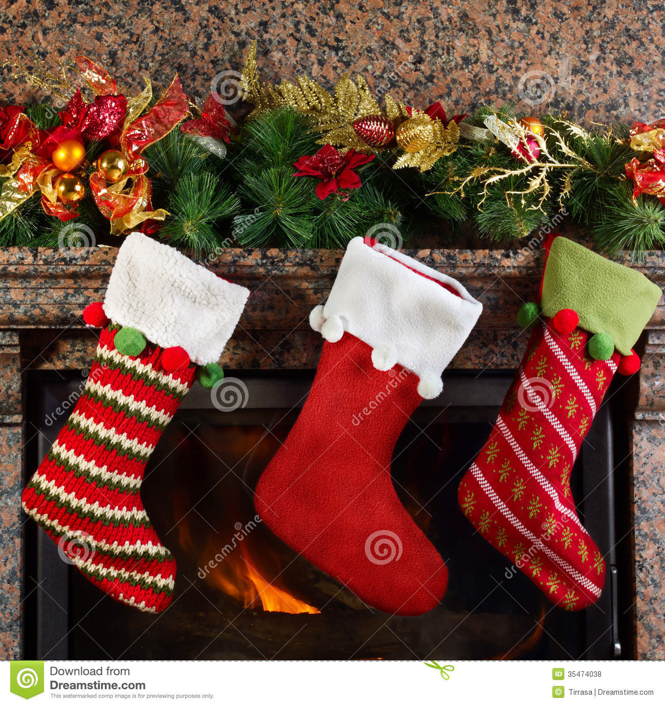 Christmas stocking royalty free stock photos image 35474038 for Stocking clips for fireplace