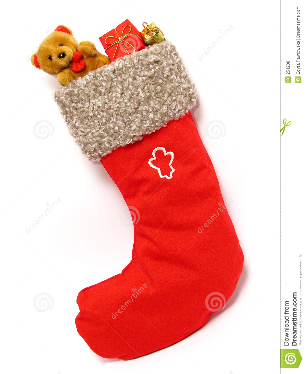 Christmas Stocking full of Presents - isolated.
