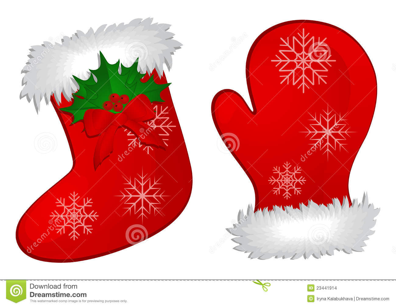 Christmas Stocking And Mitten Stock Images - Image: 23441914