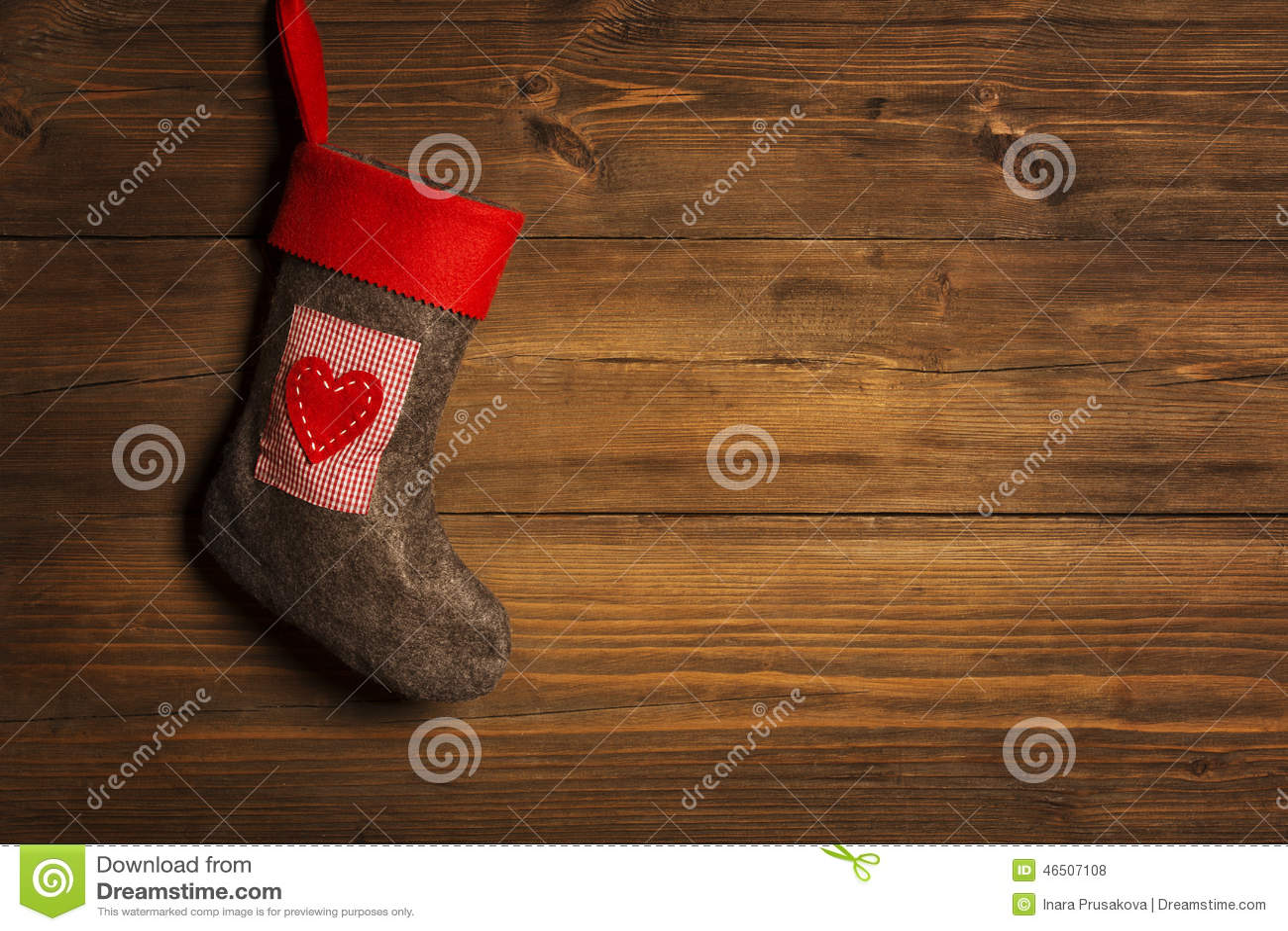 Christmas Stocking, Sock Hanging Over Grunge Wooden Background,