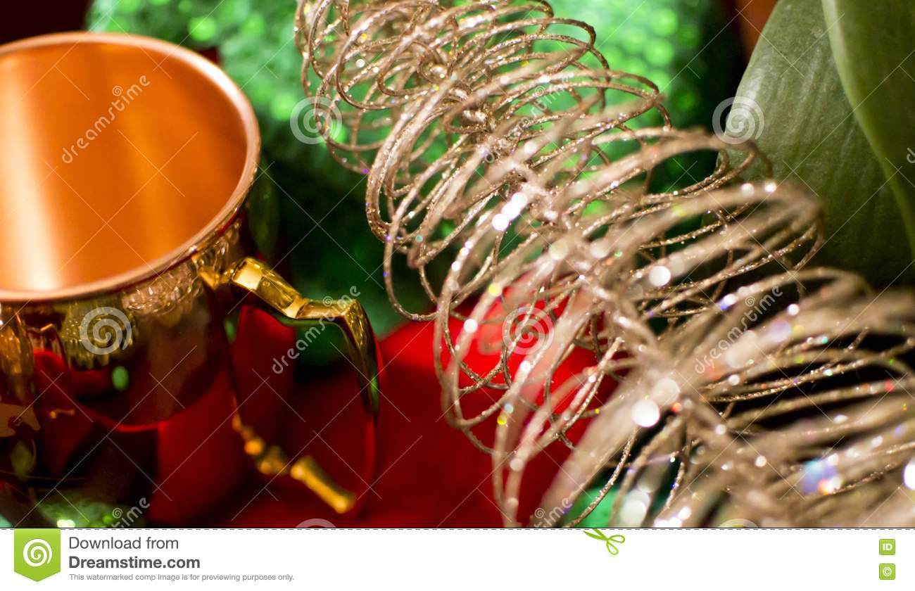 Christmas stocking tinsel and gold stock photo image for Decorative things