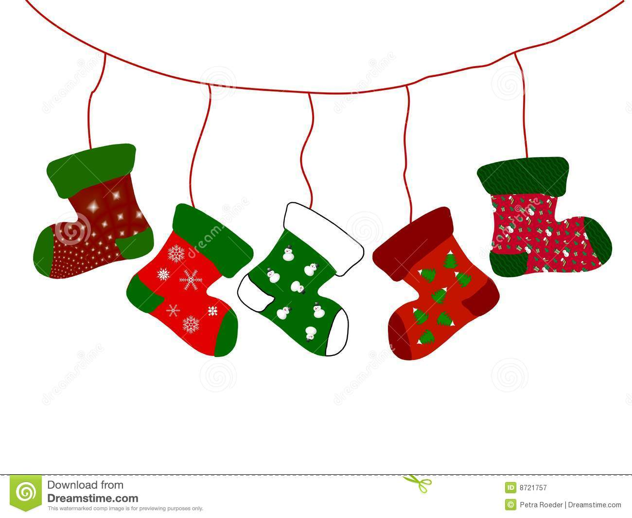 ... decorative Christmas stockings hanging from line, white background