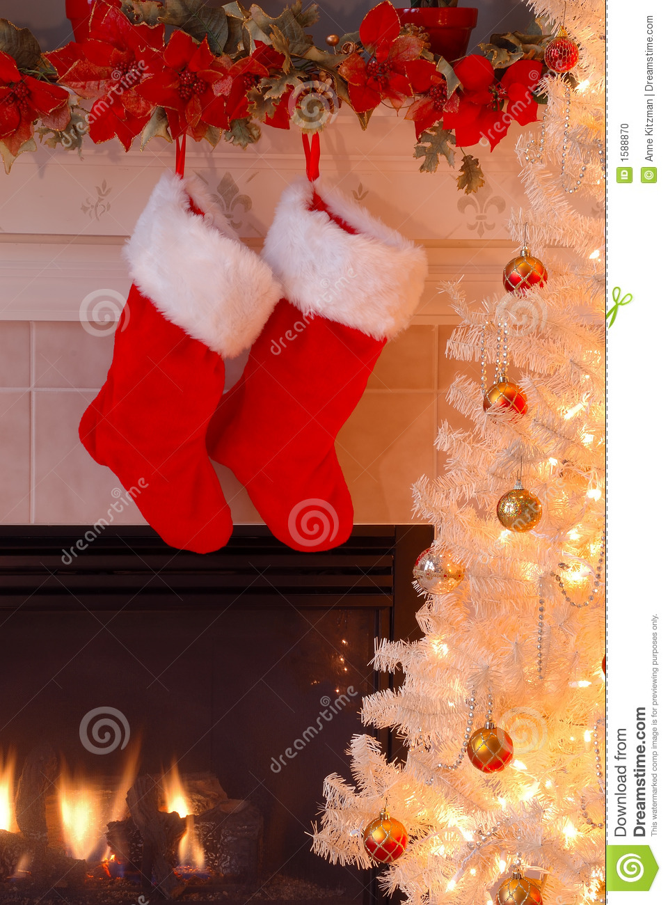 Christmas Stockings By The Fireplace Stock Photo Image