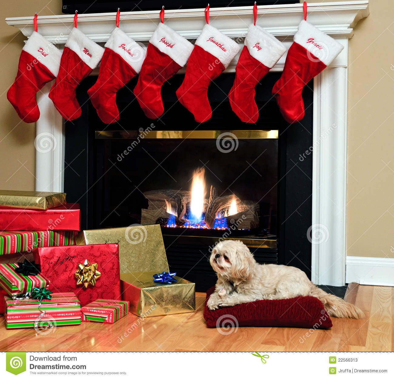 Christmas Stockings By The Fireplace Stock Photos - Image: 22566313