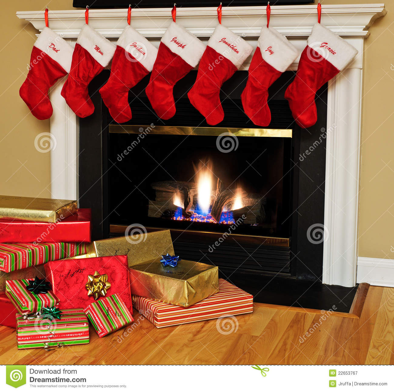 christmas stockings by the fireplace stock image image 22653767