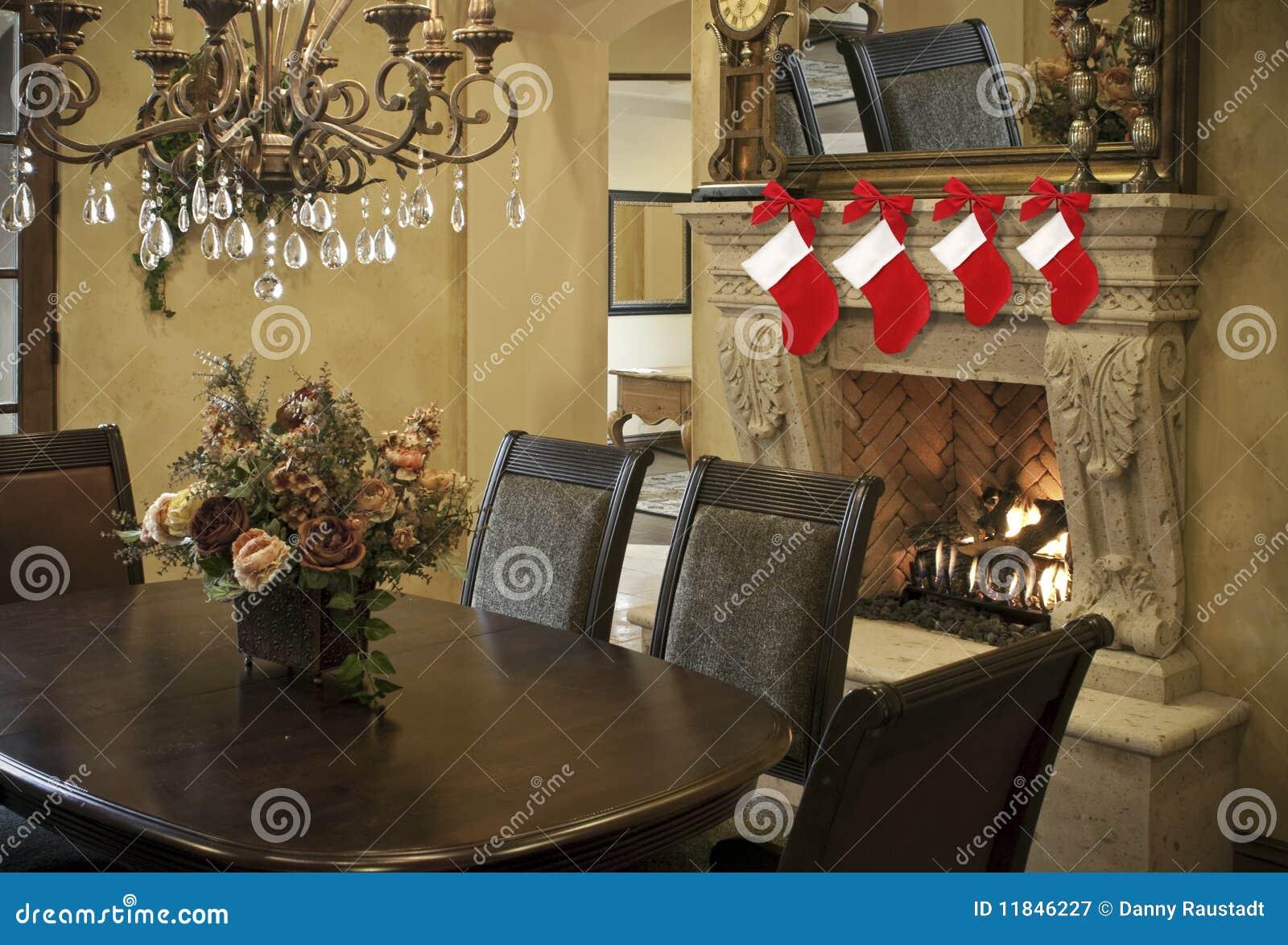 Christmas Stockings On Fireplace Mantel Royalty Free Stock