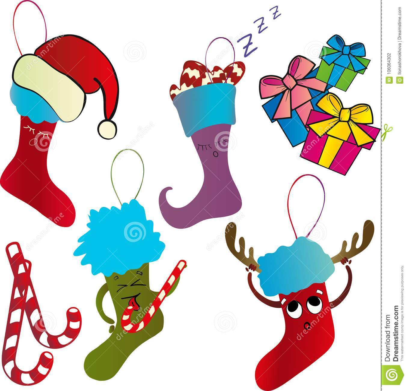 Christmas Stockings With Gifts Stock Illustration - Illustration of ...
